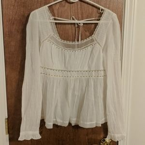 Free People Tie Back Blouse in White - NWOT